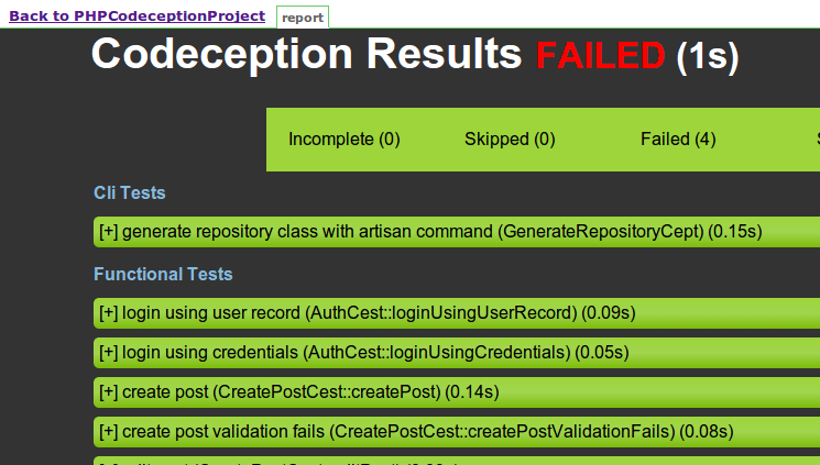 Jenkins Codeception HTML Results