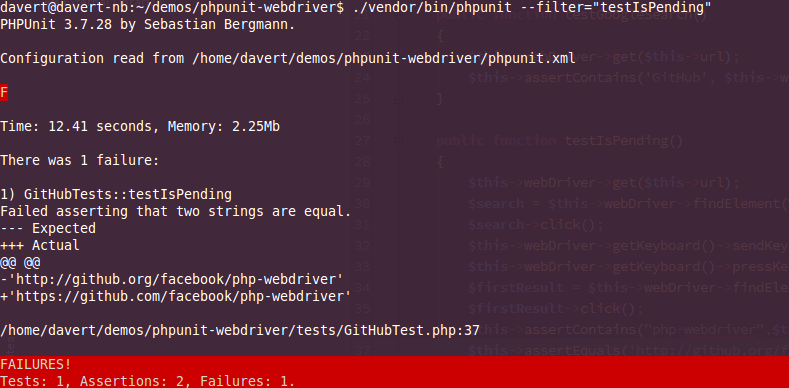 working with phpunit and selenium webdriver